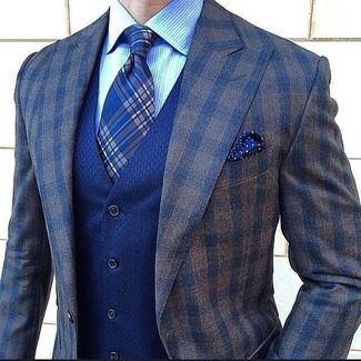 How to wear: dark brown check wool blazer, blue waistcoat, light blue vertical striped dress shirt, blue plaid tie