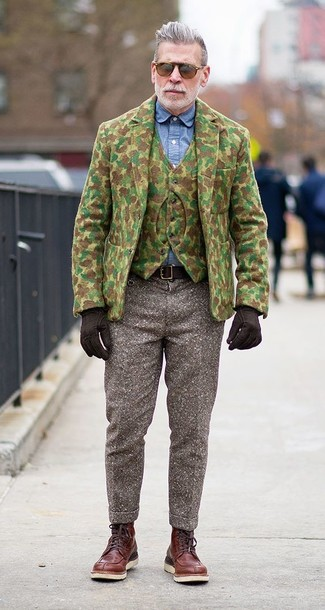 Nick Wooster wearing Olive Camouflage Wool Blazer, Olive Camouflage Wool Waistcoat, Blue Chambray Dress Shirt, Brown Wool Dress Pants