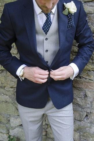 How to wear: navy blazer, grey waistcoat, white dress shirt, grey dress pants
