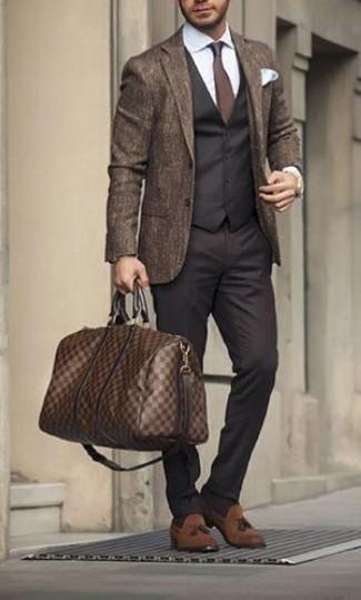 How to wear: brown wool blazer, black waistcoat, white dress shirt, black dress pants