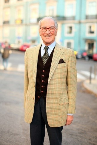 How to wear: tan plaid blazer, dark brown corduroy waistcoat, light blue dress shirt, charcoal wool dress pants