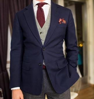 How to wear: navy blazer, grey waistcoat, white dress shirt, grey wool dress pants