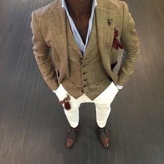 How to wear: tan check blazer, tan plaid waistcoat, light blue dress shirt, white chinos