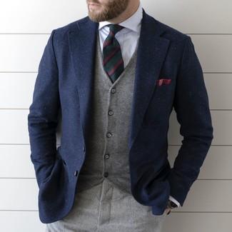 Men's Navy Wool Blazer, Grey Waistcoat, White Vertical Striped Dress Shirt, Grey Wool Dress Pants