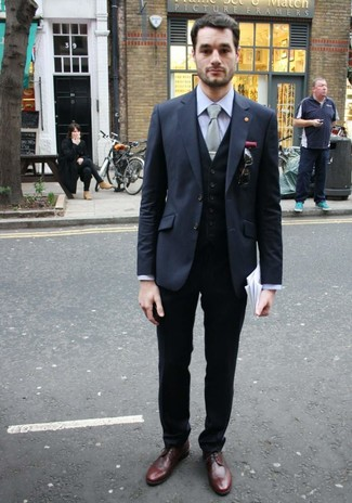 How to wear: charcoal blazer, black waistcoat, grey dress shirt, black dress pants