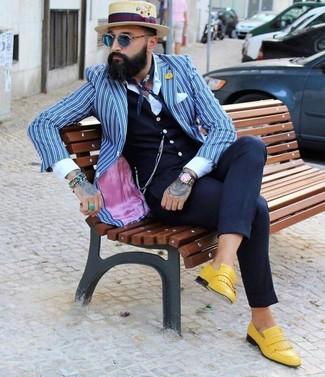 How to wear: white and blue vertical striped blazer, navy waistcoat, white dress shirt, navy dress pants