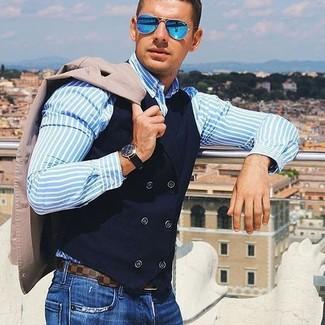 How to wear: beige blazer, black cotton waistcoat, light blue vertical striped dress shirt, blue jeans
