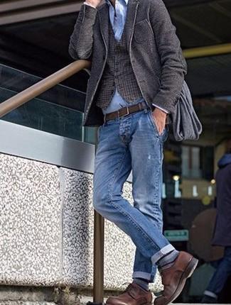 How to wear: dark brown wool blazer, dark brown check wool waistcoat, light blue dress shirt, white tank