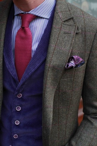 How to wear: olive check wool blazer, violet waistcoat, violet vertical striped dress shirt, red knit tie