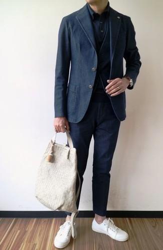 How to wear: black cotton blazer, black waistcoat, black dress shirt, black chinos