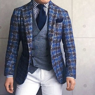 How to wear: blue tweed blazer, grey plaid wool waistcoat, white and black vertical striped dress shirt, white corduroy chinos
