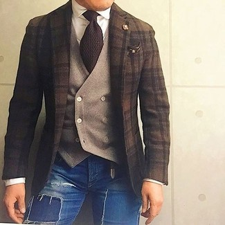 How to wear: dark brown plaid wool blazer, tan wool waistcoat, white dress shirt, blue ripped skinny jeans