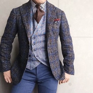 How to wear: olive check wool blazer, light blue wool waistcoat, white and black vertical striped dress shirt, navy dress pants