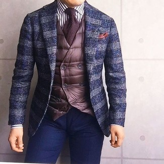 How to wear: navy plaid wool blazer, dark brown quilted waistcoat, white and black vertical striped dress shirt, navy chinos