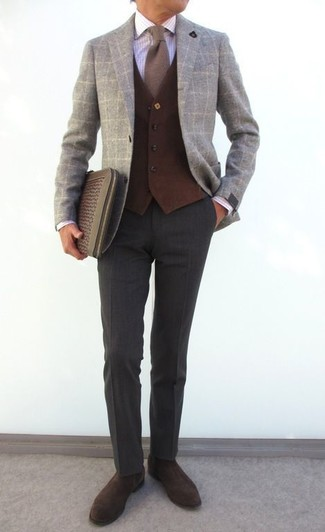 How to wear: grey check wool blazer, dark brown wool waistcoat, white check dress shirt, charcoal wool dress pants