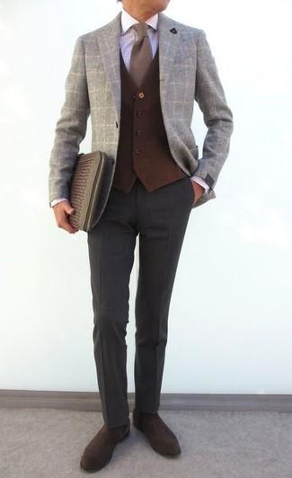 How to wear: grey check wool blazer, dark brown wool waistcoat, white check dress shirt, charcoal wool dress pants
