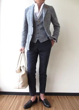 How to wear: grey blazer, grey waistcoat, white dress shirt, navy dress pants