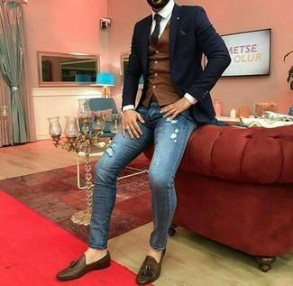How to wear: black blazer, brown waistcoat, white dress shirt, blue ripped skinny jeans