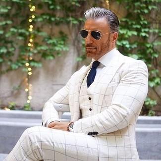 How to wear: white check blazer, white check waistcoat, white dress shirt, white check dress pants