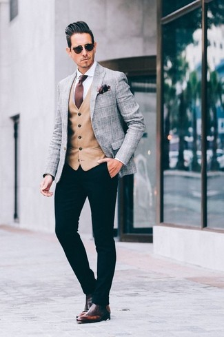 How to wear: grey plaid blazer, tan waistcoat, white dress shirt, black chinos