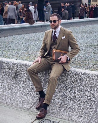 How to wear: olive wool blazer, olive wool waistcoat, white dress shirt, olive wool dress pants