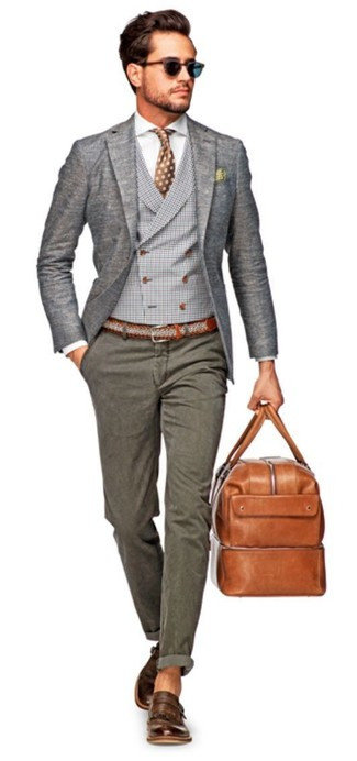 How to wear: grey wool blazer, grey plaid waistcoat, white dress shirt, grey chinos