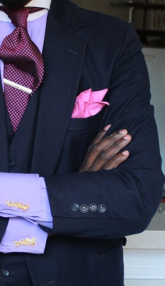 How to wear: navy blazer, navy waistcoat, violet dress shirt, burgundy tie