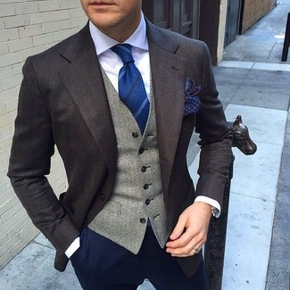Marry a suit jacket with deep blue chinos if you're going for a neat, stylish look.
