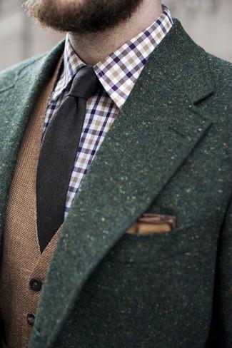 How to wear: dark green wool blazer, brown wool waistcoat, violet gingham long sleeve shirt, dark brown wool tie