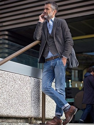How to wear: charcoal wool blazer, brown gingham waistcoat, light blue chambray long sleeve shirt, blue jeans
