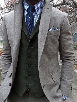 Black waistcoat grey jacket
