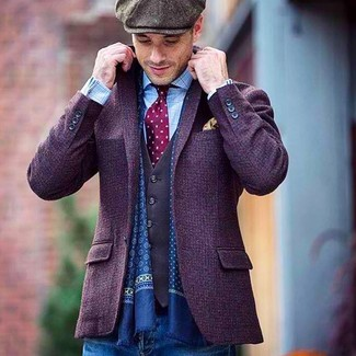 How to wear: violet wool blazer, charcoal waistcoat, light blue check long sleeve shirt, blue jeans