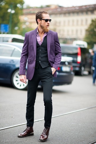Justin O'Shea wearing Violet Blazer, Black Waistcoat, White and Purple Vertical Striped Long Sleeve Shirt, Black Dress Pants