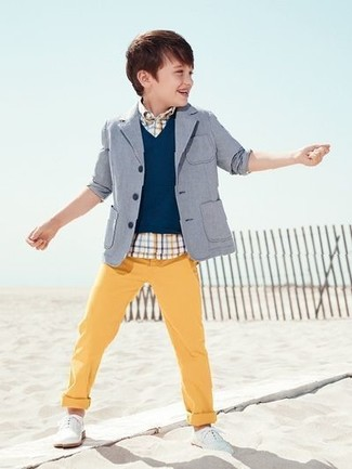 How to wear: grey blazer, navy waistcoat, white plaid short sleeve shirt, yellow trousers