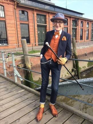 How to wear: black blazer, orange waistcoat, black skinny jeans, tobacco leather derby shoes