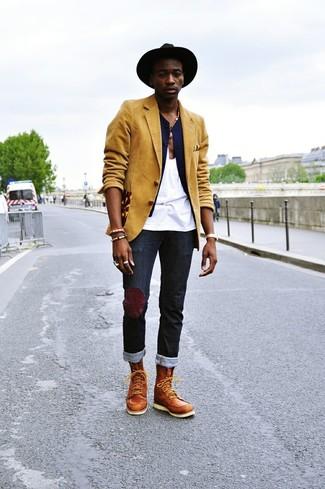How to wear: mustard blazer, navy waistcoat, white tank, black jeans