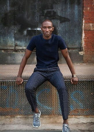 How to Wear Navy Print Chinos: A navy crew-neck t-shirt and navy print chinos are a nice outfit worth integrating into your daily casual lineup. Complement your getup with blue athletic shoes to instantly step up the style factor of your ensemble.