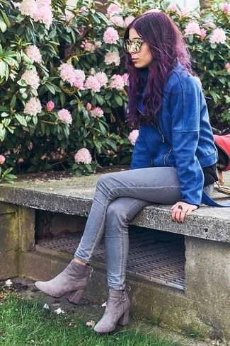 Women's Blue Suede Biker Jacket, Grey Skinny Jeans, Grey Suede Ankle Boots, Gold Sunglasses