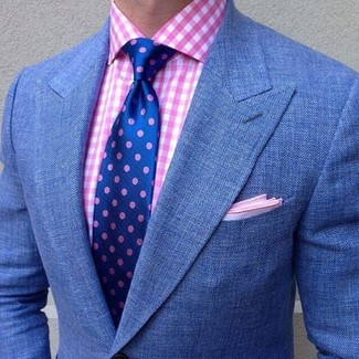 How to wear: blue blazer, pink gingham dress shirt, blue polka dot tie, pink pocket square