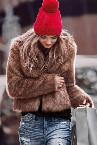 How to wear: red beanie, blue ripped boyfriend jeans, black turtleneck, brown fur jacket