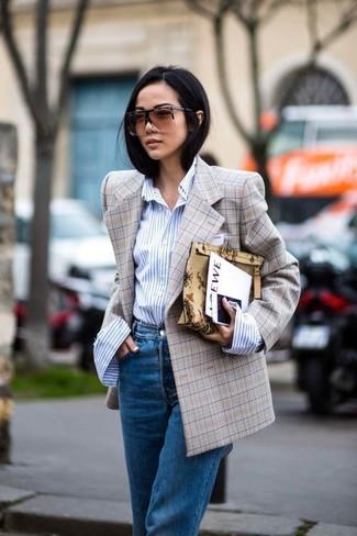 How to wear: blue boyfriend jeans, light blue vertical striped dress shirt, tan check double breasted blazer