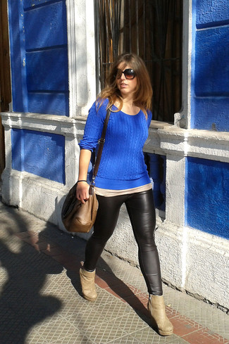 How to wear: blue cable sweater, black leather leggings, beige suede ankle boots, brown leather crossbody bag
