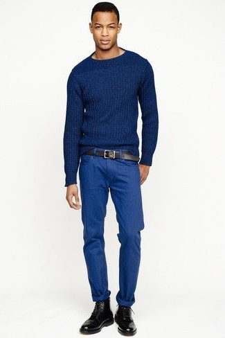 How to wear: blue cable sweater, blue chinos, black leather brogue boots, black leather belt