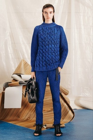 How to wear: blue cable sweater, blue wool skinny pants, black fringe suede heeled sandals, black leather satchel bag