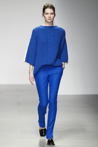 How to wear: blue cable sweater, blue skinny pants, black leather loafers
