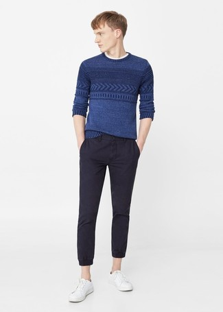 How to wear: blue cable sweater, white crew-neck t-shirt, black chinos, white leather low top sneakers