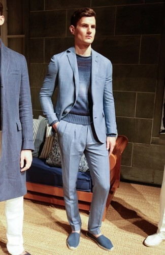 How to wear: blue canvas espadrilles, navy ombre crew-neck sweater, light blue suit