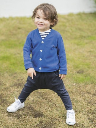 Boys' Blue Cardigan, Navy and White Horizontal Striped T-shirt, Navy Jeans, White Sneakers