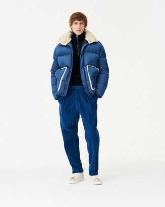 How to wear: beige leather high top sneakers, blue chinos, black zip neck sweater, navy puffer jacket