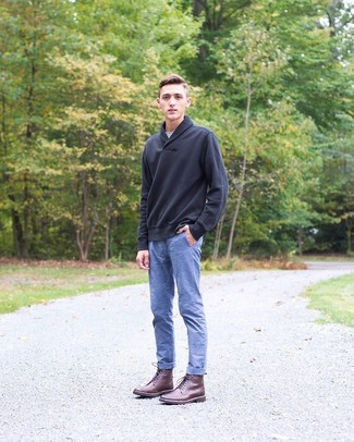 How to wear: burgundy leather casual boots, blue chambray chinos, grey crew-neck t-shirt, black shawl-neck sweater